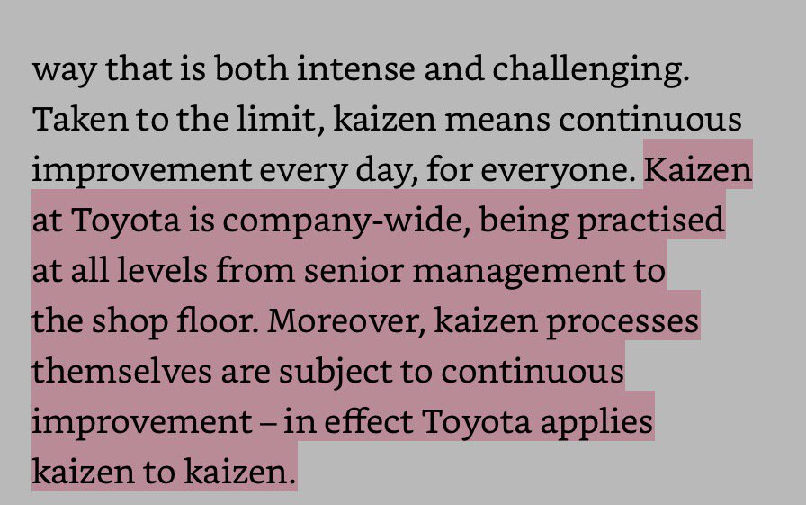 "#Kaizen is for everyone & every process at Toyota. Without kaizen, it shouldn't be called ""#Lean"" in other orgs https://t.co/68IVIqxqfo"