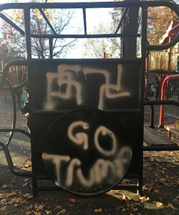 BREAKING: Swastikas, 'Go Trump' graffitied on Brooklyn Heights playground https://t.co/eX4b3wMeyo https://t.co/OhQ6XtML7v