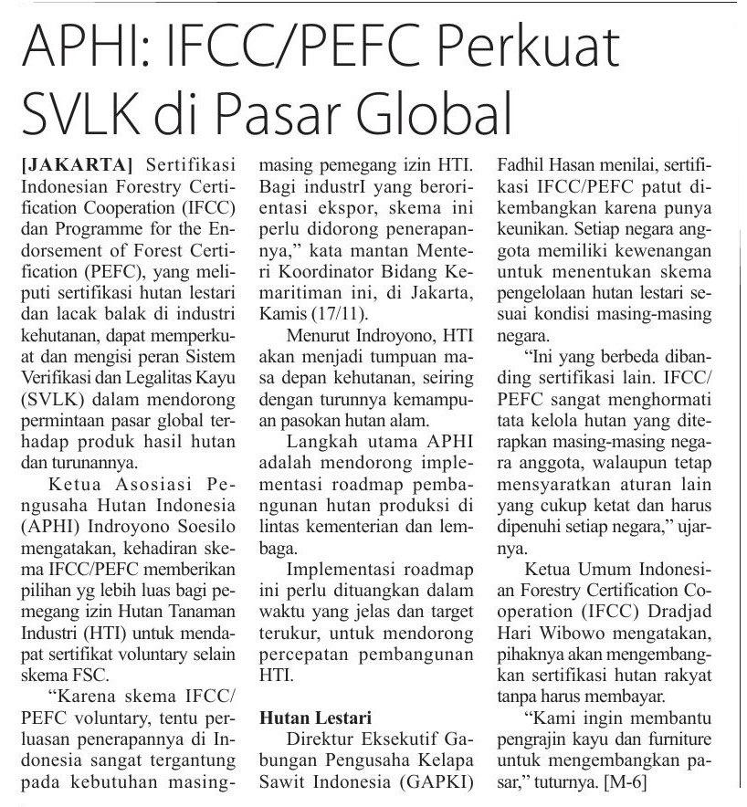 APHI: IFCC /PEFC Perkuat SVLK di Pasar Global