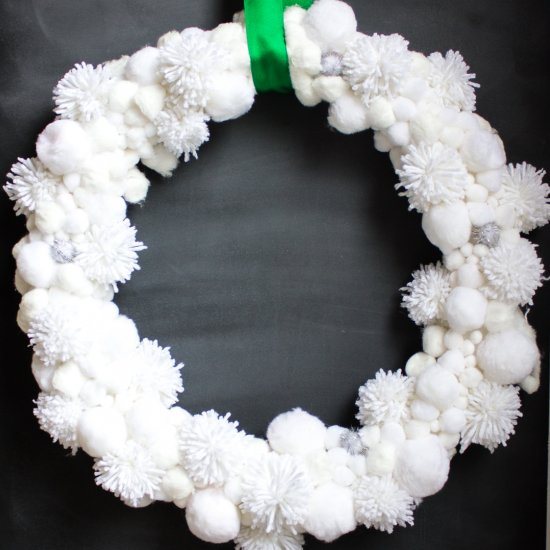 DIY Pom Pom Snowball Christmas Wreath