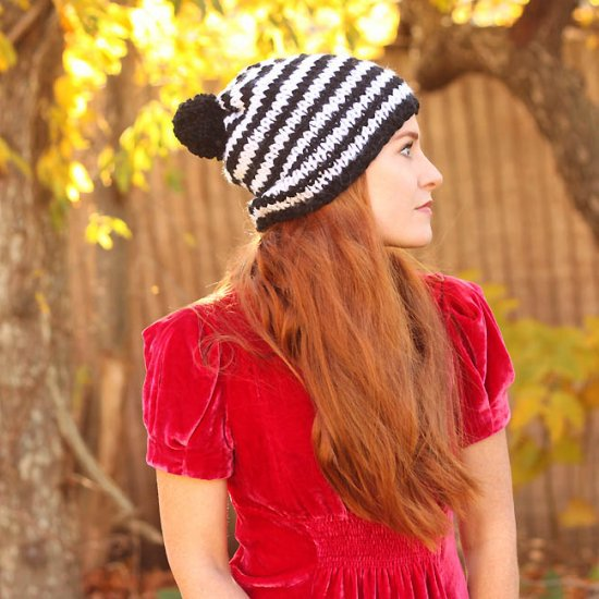 DIY Stripe Hat Knitting Pattern