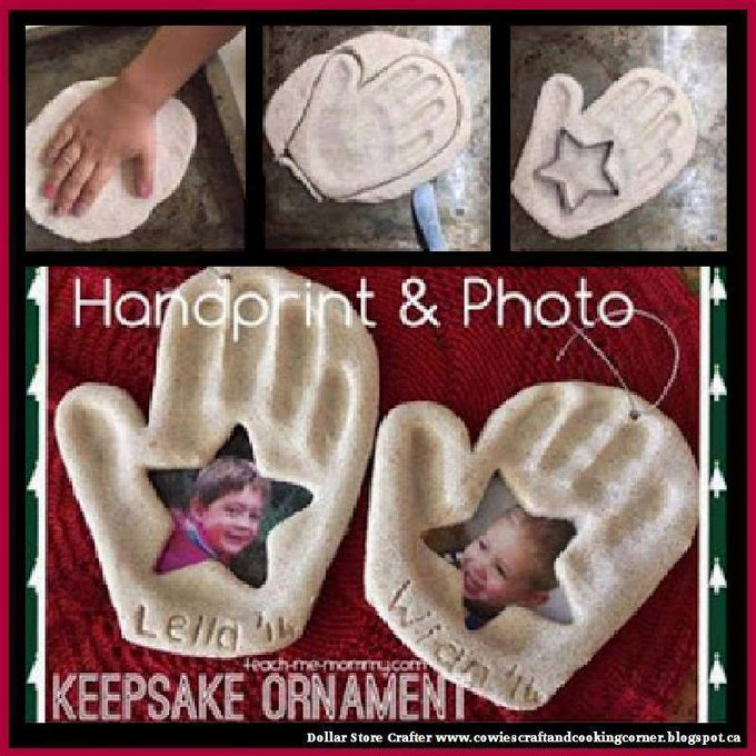 Hand Print & Photo Keepsake OrnamentLINK>>christmas crafts christmascrafts diyornaments