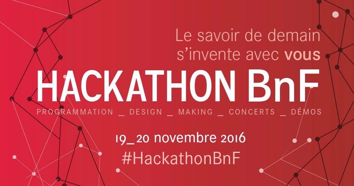 Bjr à tous! #HackathonBnF ça commence aujourd'hui ! RDV @laBnF à partir de 12:30 pr un démarrage à 13:15. https://t.co/qz0awHfkhb
