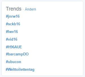 Twitter war nie aufregender. #jnrw16 #sckb16 #lwv16 #vid16 #H96AUE #barcampDO #ubucon #Welttoilettentag https://t.co/Nci2PICldA