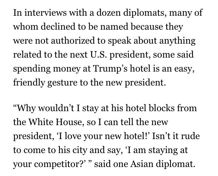 The Trump D.C. hotel held an event pitching foreign diplomats on the benefits of giving money to the Trump family https://t.co/PWMnGS8gVQ