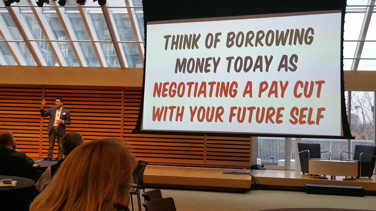 """""""Think of borrowing money today as negotiating a pay cut with your future self."""" @preetbanerjee #cpfc16 https://t.co/ZQC5ZoFb7W"""