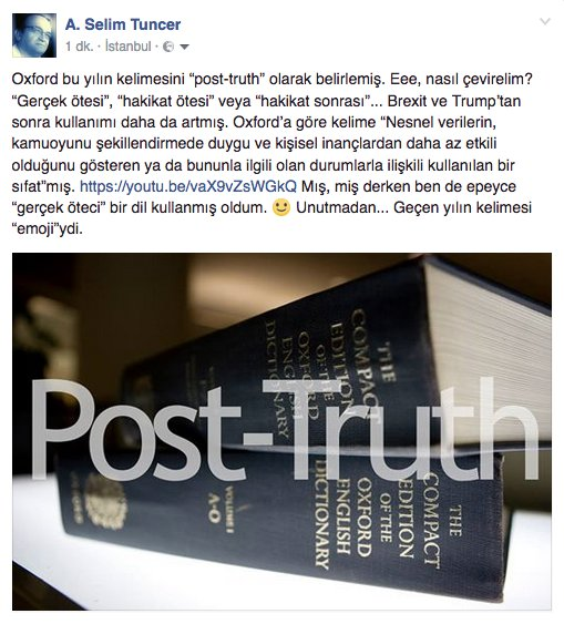 "Oxford bu yılın kelimesini ""post-truth"" olarak belirlemiş. https://t.co/9knsCSKq9X https://t.co/fRVsxbsJWy"