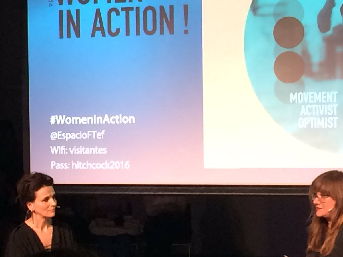"""The challenges you take define who you are"" dice Juliette Binoche. La amo #WomenInAction https://t.co/9jJAgDi2sd"