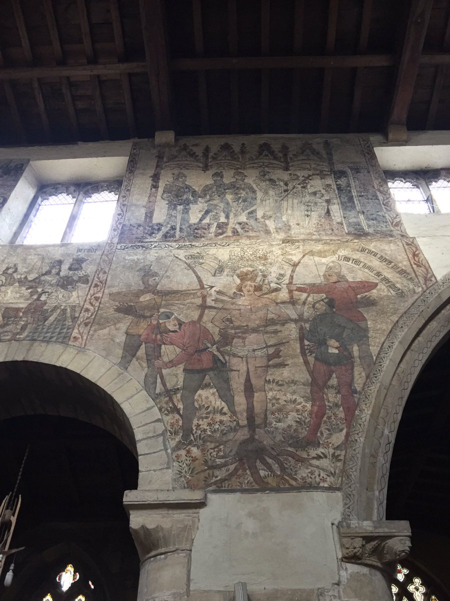 Next was St. Peter's and St Paul's, Pickering, finest wall paintings I have seen, they date to around 1450 https://t.co/hOP9DAcHPE