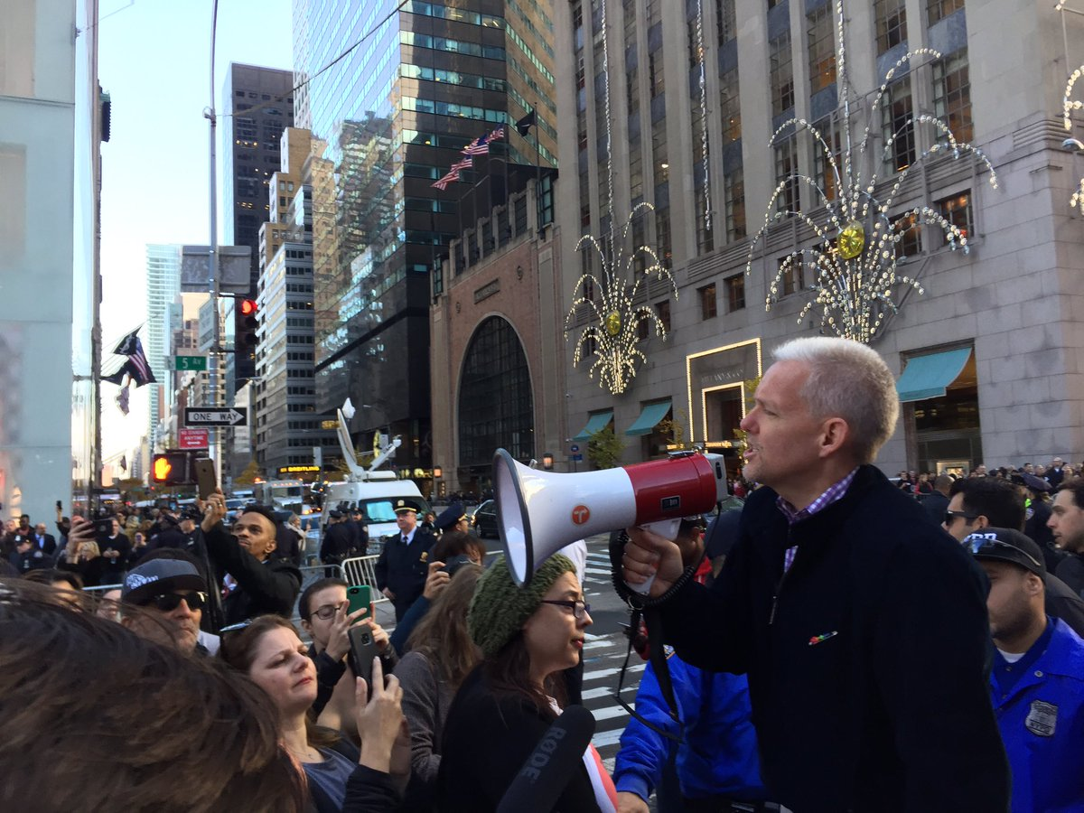 At Trump Tower. We reject racism, sexism, homophobia, xenophobia and hate of all kinds! Those are OUR #QueensValues https://t.co/2RXnpO0uRc