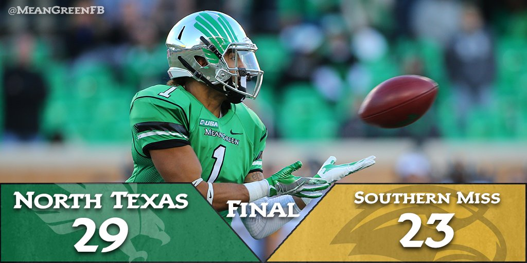 The #MeanGreen win it! 29-23 and improve to 5-6, and now 3-4 in @Conference_USA! #GMG #NewDenton #SeniorDay https://t.co/sYu93LEPId