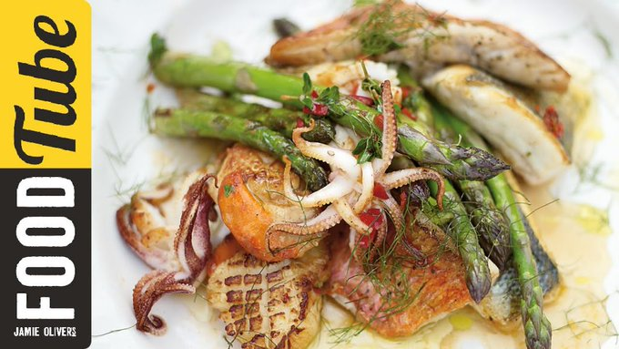 Asparagus & Mixed Fish Grill | Jamie Oliver #Food #Jamie #recipes - Zang Styles