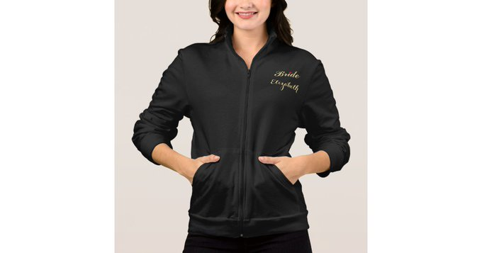 DIY gift Bride Name Black Wedding Bachelorette Party Script Jacket