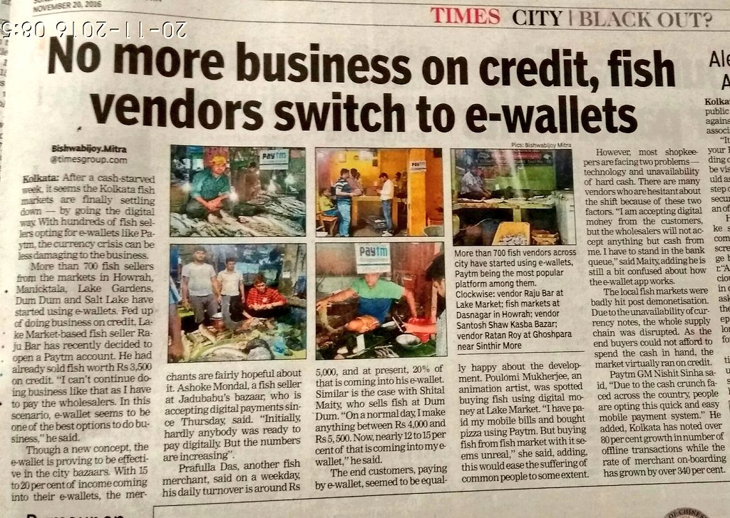 Times news report demonetization effect in local market