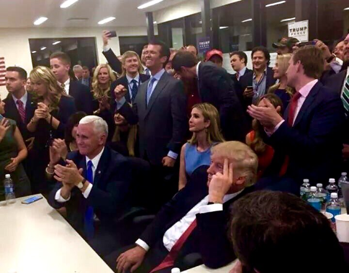 Donald Trump Mike Pence Team Watching Presidential Election Results Nov. 8 2016