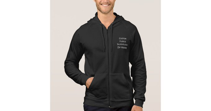 DIY gift Create Mens Custom Fleece Sleeveless Zip Hoodie