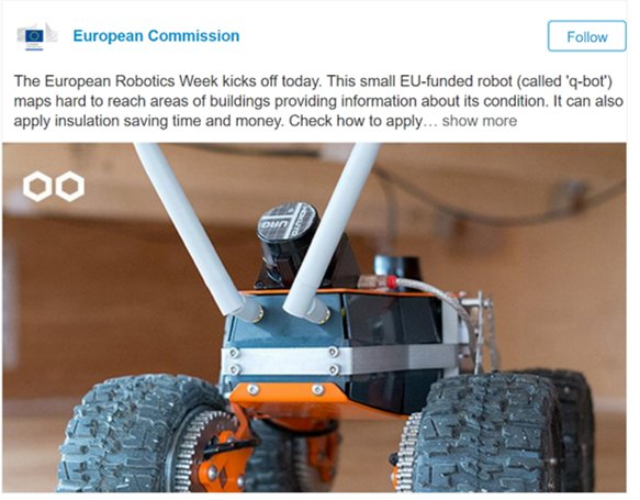 #SMEinstrument champion Q-bot featured by the EC. We are glad to have supported both their phase 1 and phase 2 applications ! @h2020sme https://t.co/qlDDdTpPaM