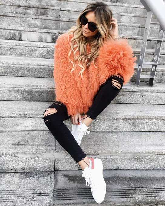 How cool is my new orange fur via Zoranna Jovanovic Zorannah ootd