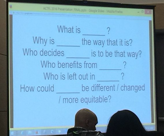"Guiding questions. Insert concept (for example, ""racism"") in blanks to guide inquiry. #actfl16 #socialjustice https://t.co/ogzmrq0B9B"