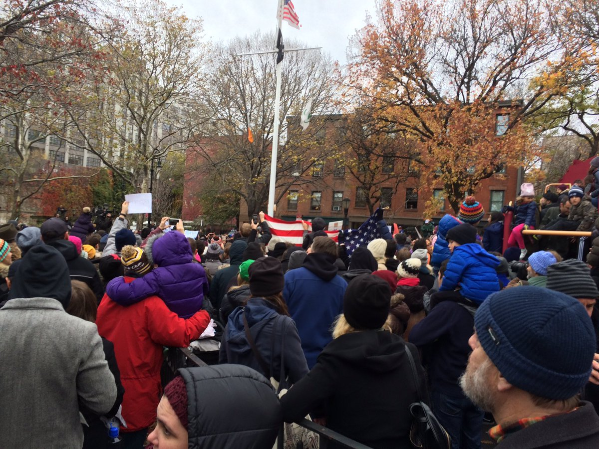 Jam packed at #AdamYauch Park in #Brooklyn for rally against hate @beastieboys @adrock https://t.co/cotfLp7CEz