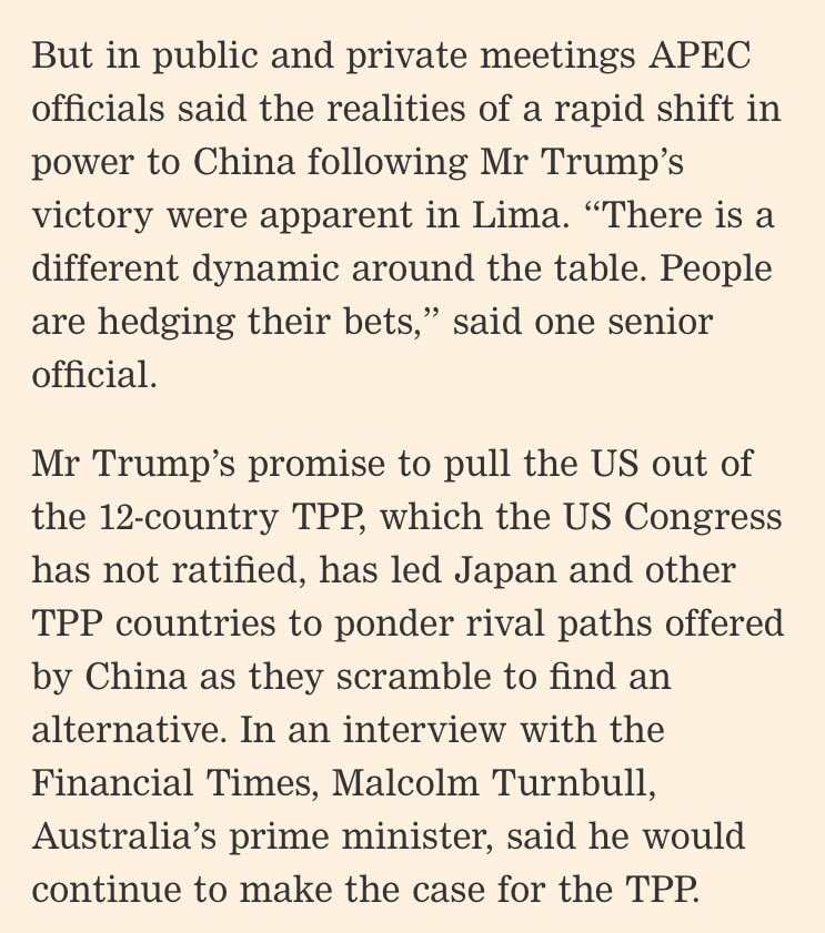 "A big moment unfolds in Asia - ""China manoeuvres to fill US free-trade role"" https://t.co/RFCtwaUZvA via @FT https://t.co/AtB7DM9YOE"