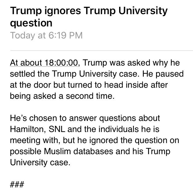Trump's response this evening when asked about $25 million Trump University settlement. https://t.co/MMirjaV1mp