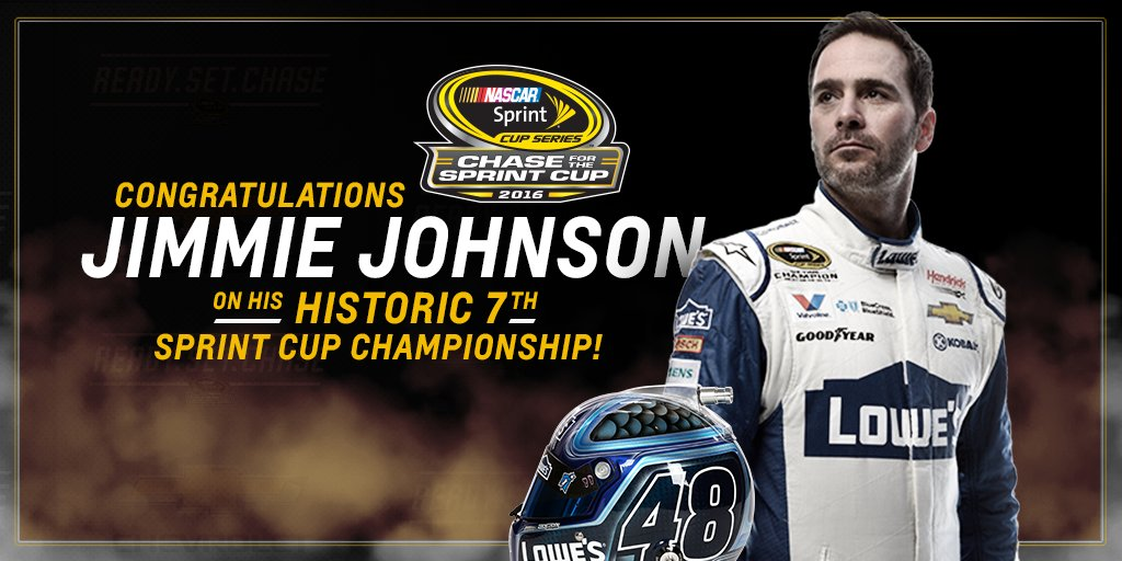 Make that 7. Congratulations to @JimmieJohnson on tonight's historic victory! #se7en https://t.co/bY1Zdszedy