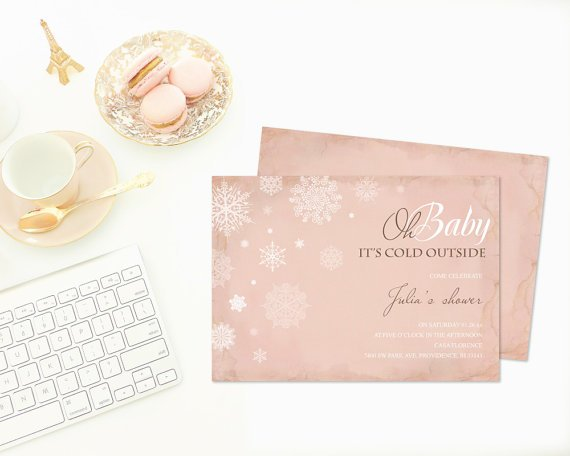 DIY Editable Baby It's Cold Outside Invite ~ MS Word Winter Baby Shower Invitation, Birthday, Bridal Shower Invitation That Can Be Edited