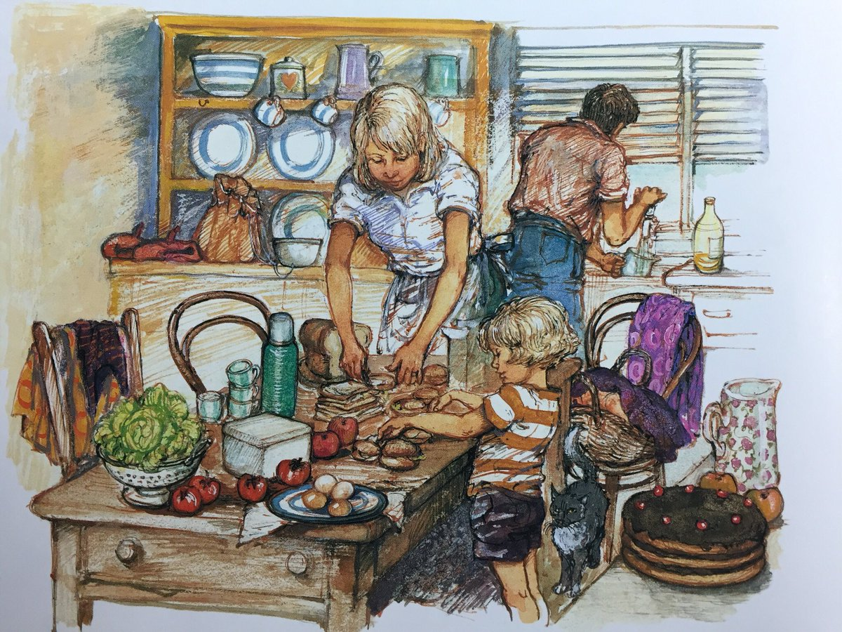 Shirley Hughes Ar Twitter Busy Preparing A Picnic Lunch In The Kitchen Lucy And Tom At The Seaside