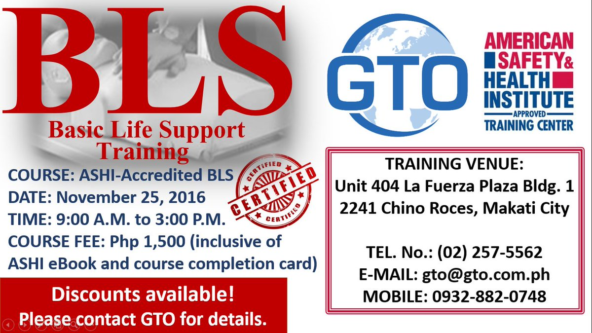 Gto Training On Twitter Course Ashi Accredited Bls Date 1125