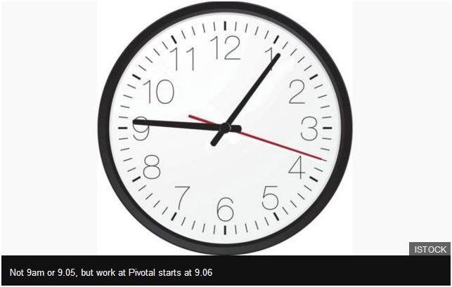 Pivotal Software employees all over the world all start work at 09:06 exactly. But why?