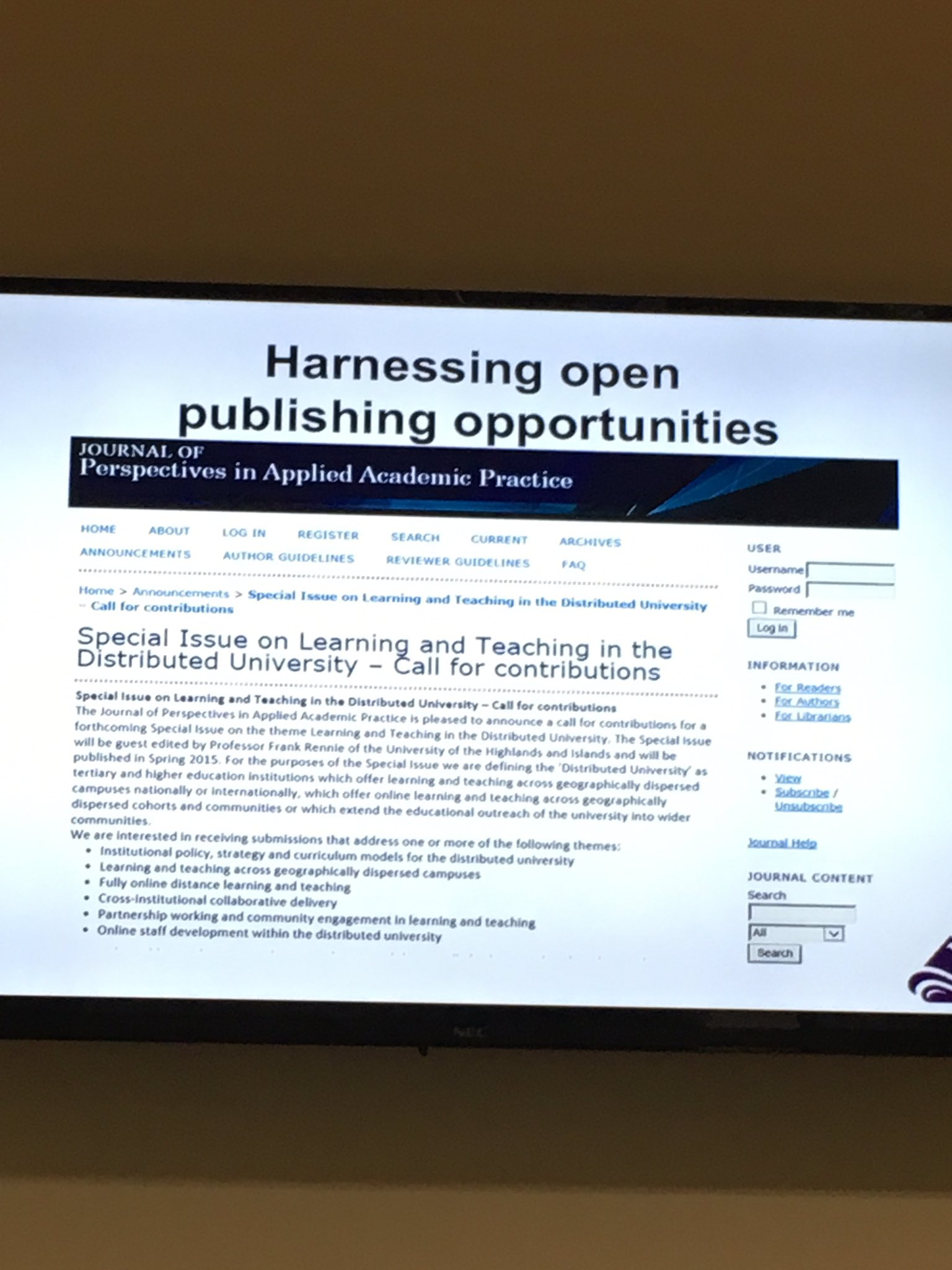 Keith Smyth points to @JofPAAP as an example of a vehicle through which to harness potential of open publishing #ELESIG https://t.co/421VErFRTI