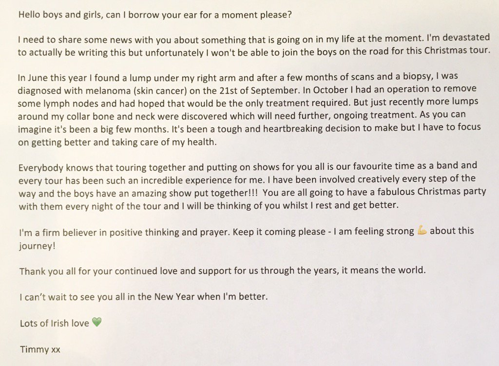 • Hello everyone. Please read through the attached message from Timmy • Lots of love the boys x https://t.co/pMExoj6IWg