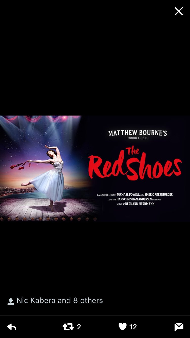 All the best for tonight @Mattbourne1 and all the cast of The Red 👠 https://t.co/5cr49Qo6Jc