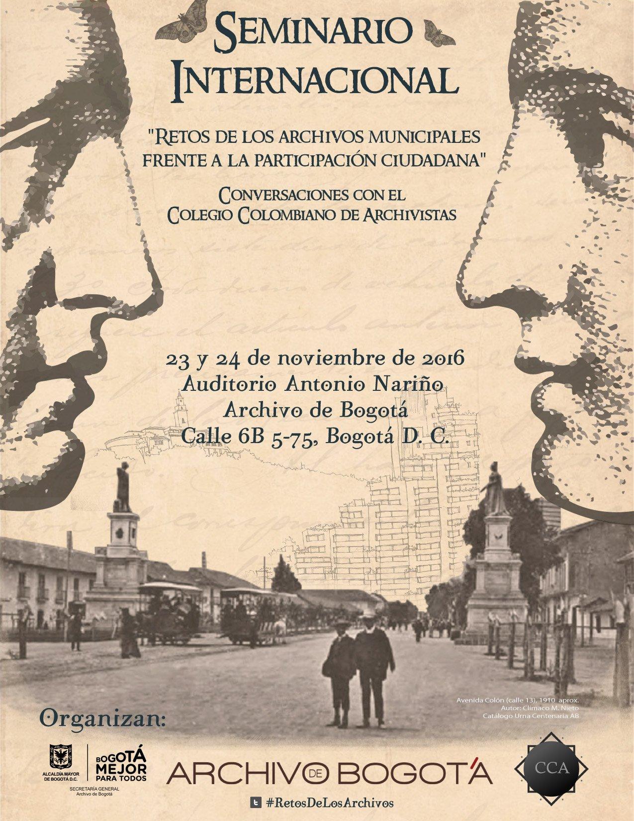 No te pierdas los #RetosDeLosArchivosMunicipales con el @ArchivodeBogota y @ccarchivistas | #SeminarioInternacional https://t.co/4knNPpkUoR