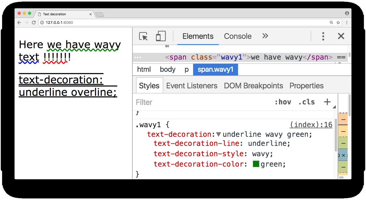 Css text decoration color chrome for A link text decoration