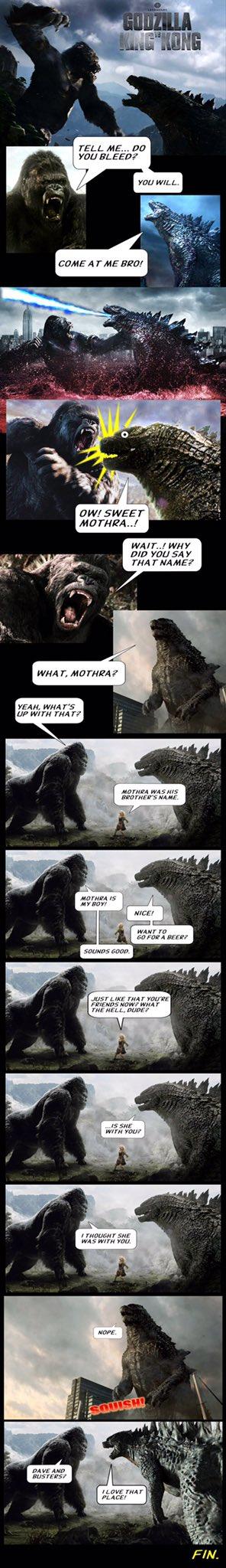 Godzilla vs King Kong Mothra meme by Paul Gale Network