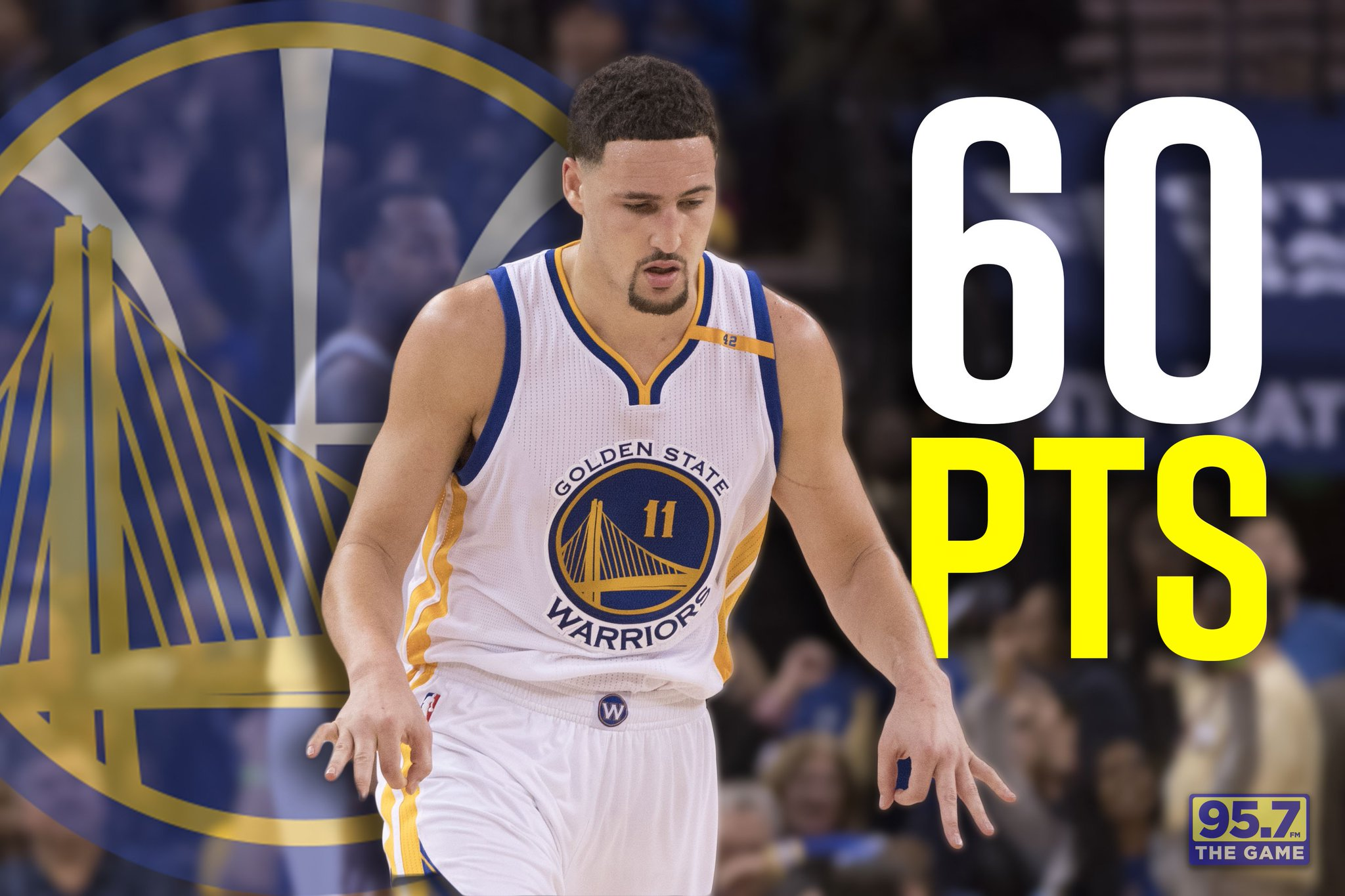 "95 7 The Game on Twitter ""Wel e to the club Klay With 60pts"