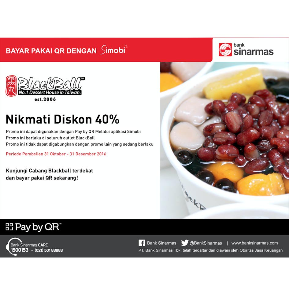 40% Off with Pay by QR at Blackball @CentralParkMall @puriindahmall @GrandMetMall  Get your favorit #Dessert for less! #paybyQR pic.twitter.com/BkVfpNTUkp