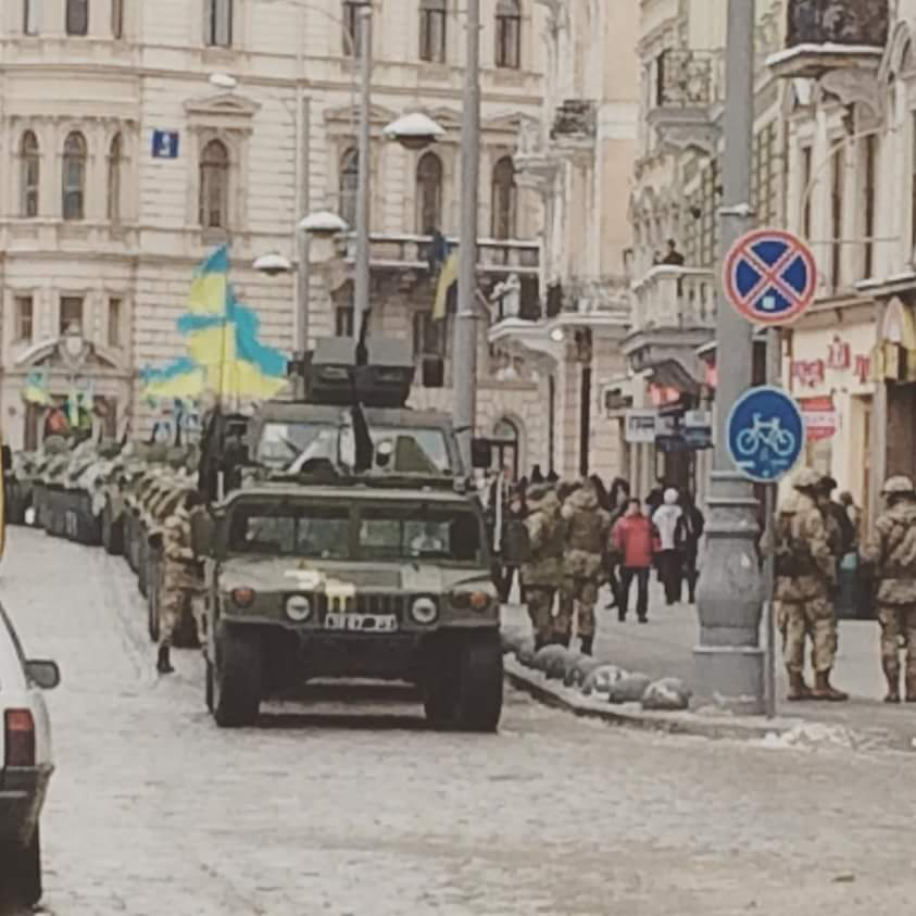 Military convoy in Central L'viv - today is 25 years anniversary of creation of armed forces of Ukraine