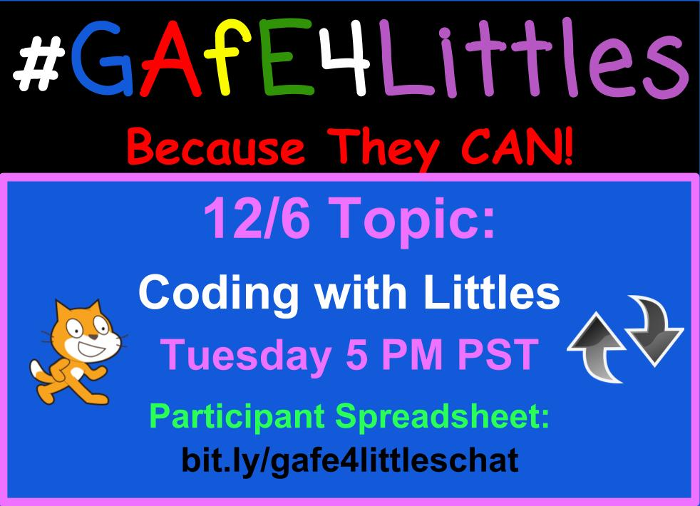 Welcome to the #gafe4littles chat! Pinto, Kinder T from So Cal. Introduce yourself! Share your position, location & thoughts on comp science https://t.co/pW40Ms7CXa