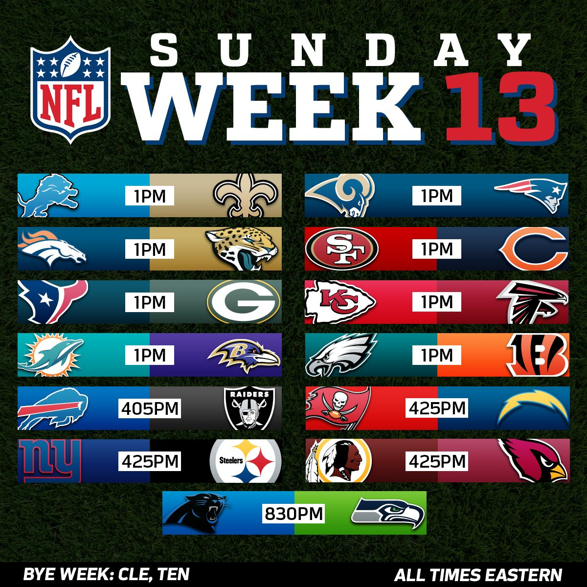 Nfl On Twitter It S Week 13 Football Sunday Let S Go