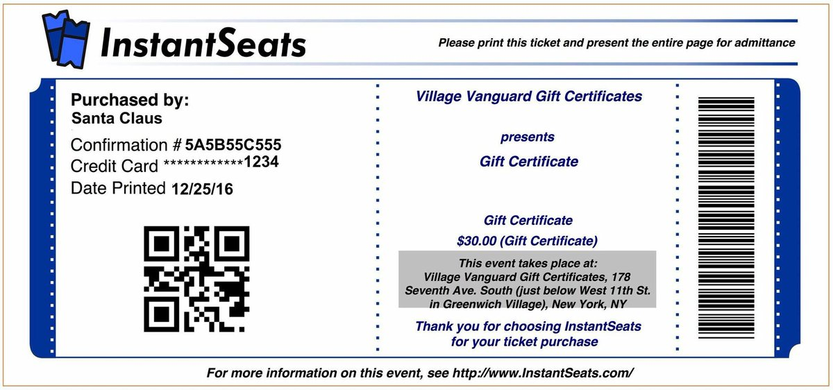 For the jazz lover on your holiday shopping list...VANGUARD GIFT CERTIFICATES! 🎄🎁🎉🎁🎄 instantseats.com/index.cfm?fuse…