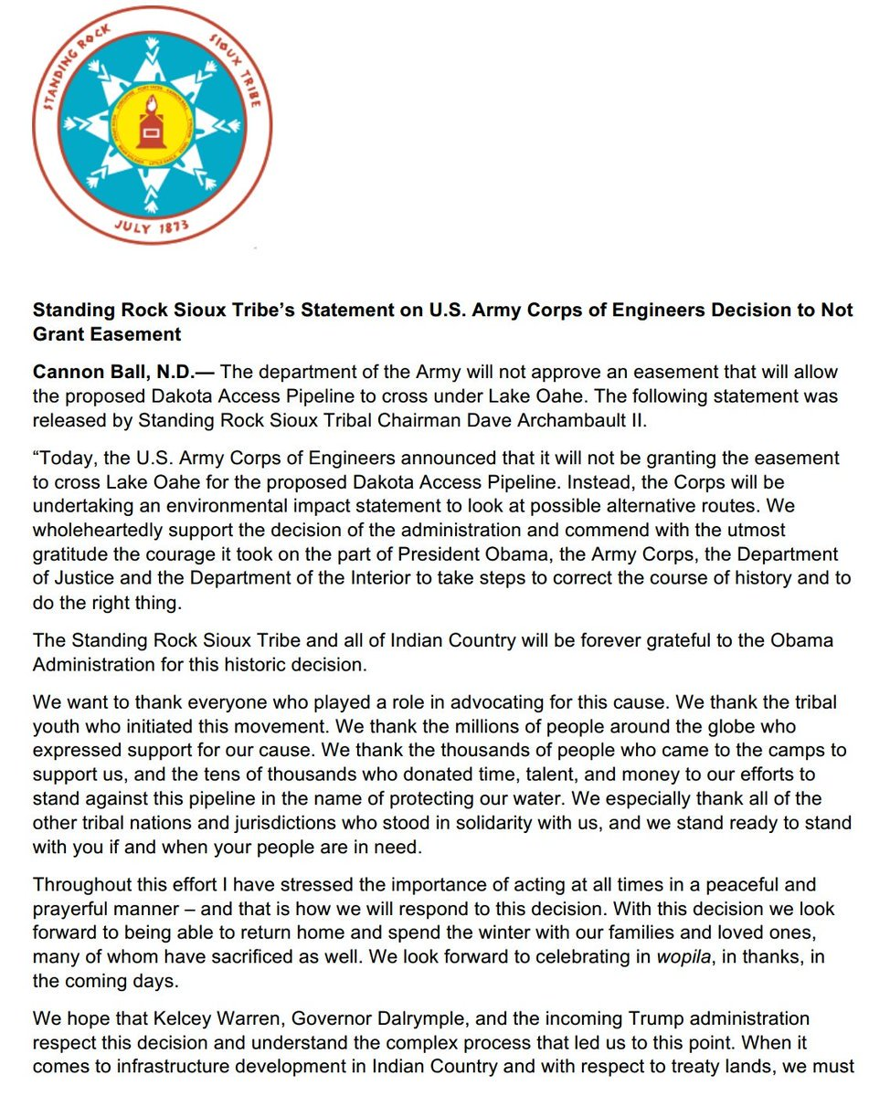 Standing Rock Sioux Tribe reports Army Corps of Engineers denied DAPL easement, calls for Environmental Impact Statement  and  re-route #NoDAPL