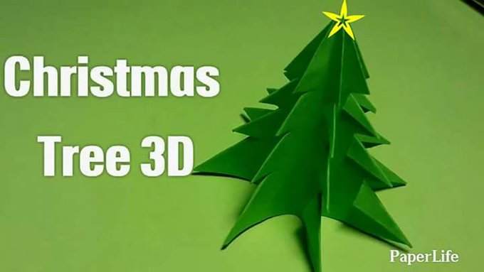 Christmas Tree 3D Origami & Kirigami Fold & Cut Easy to follow HD tutorial