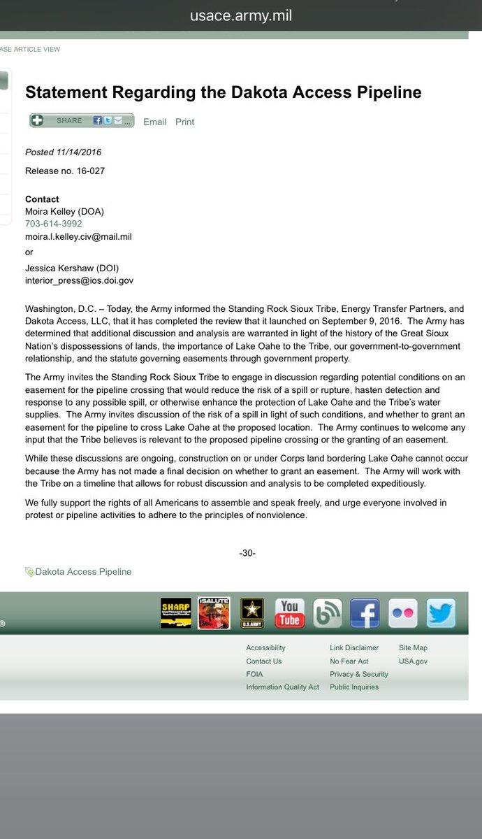 Screenshot of statement regarding the halting of #DAPL on @USACEHQ