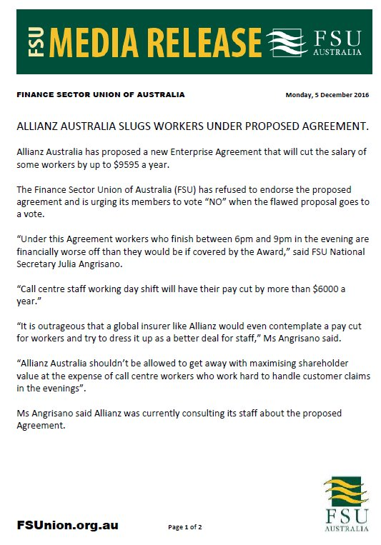Finance Sector Union On Twitter Media Release Allianz Australia