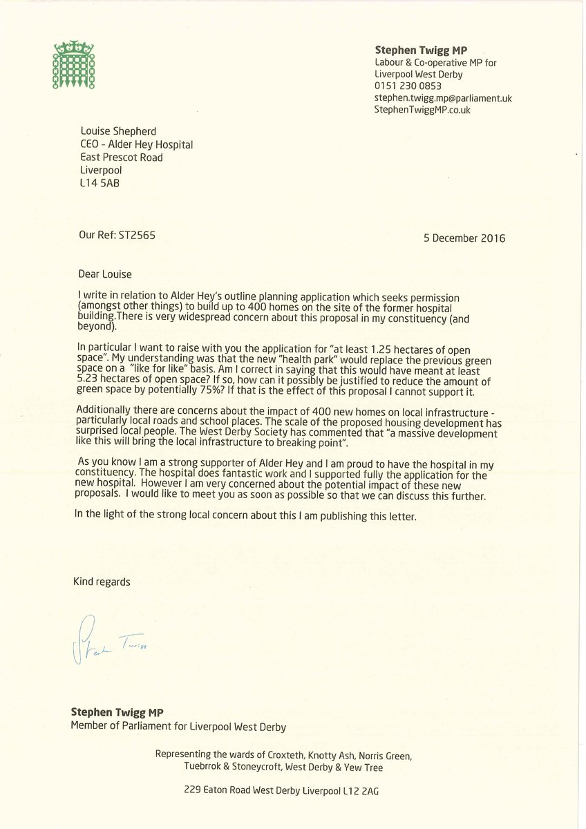 Stephen twigg on twitter today i have written to the alder hey to the alder hey chief executive setting out my concerns about their planning application and seeking an urgent meeting httpstxrhgy0ljcp altavistaventures Image collections