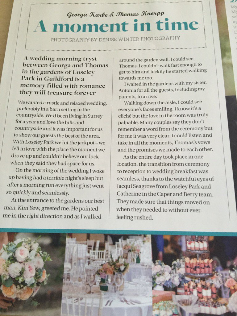 One of our lovely summer #weddings @LoseleyPark feature in @SurreyBride latest issue thanks to @bestweddingtog