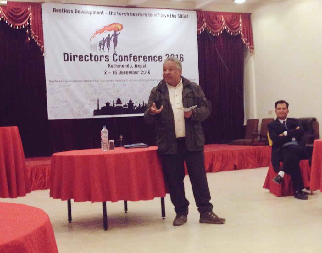 2016 @RestlessDev Directors Conf begins w/ @RestlessNepal Board Chair Anil setting strategic scene #WeAreRestless https://t.co/fnQRhVGcsQ
